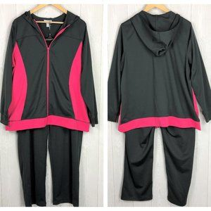 Plus Size Pink Athletic Gym Zip Up Hoodie Pants